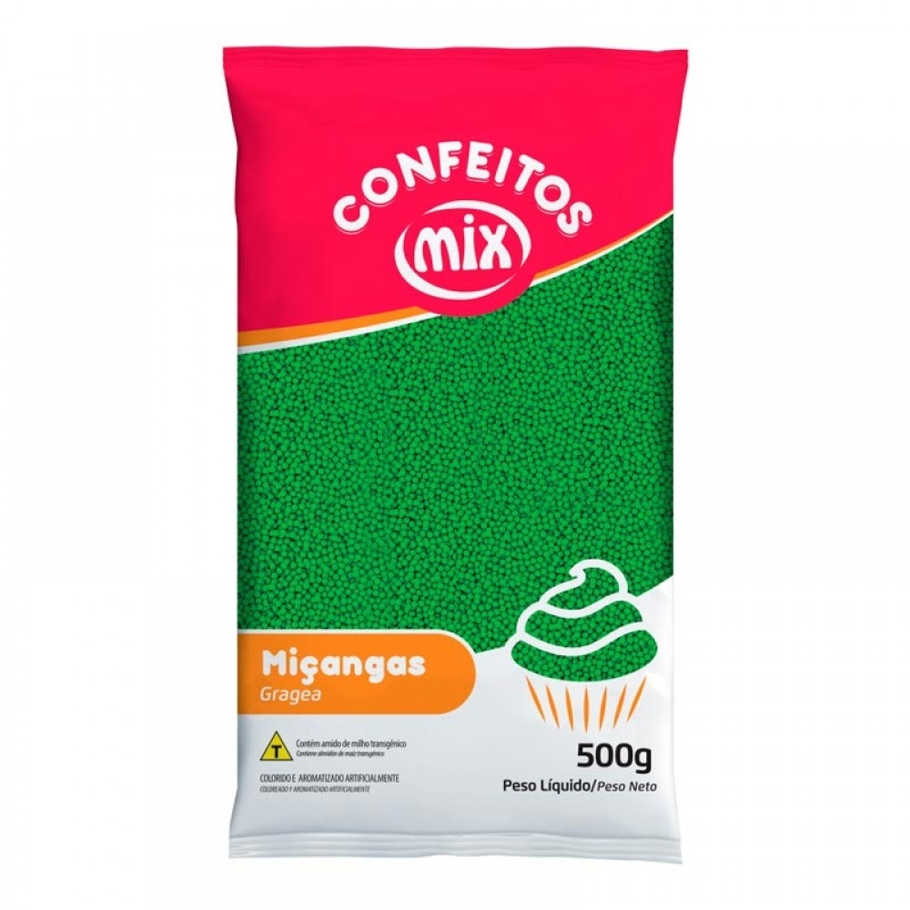 Confeito Miçanga Verde - Mix