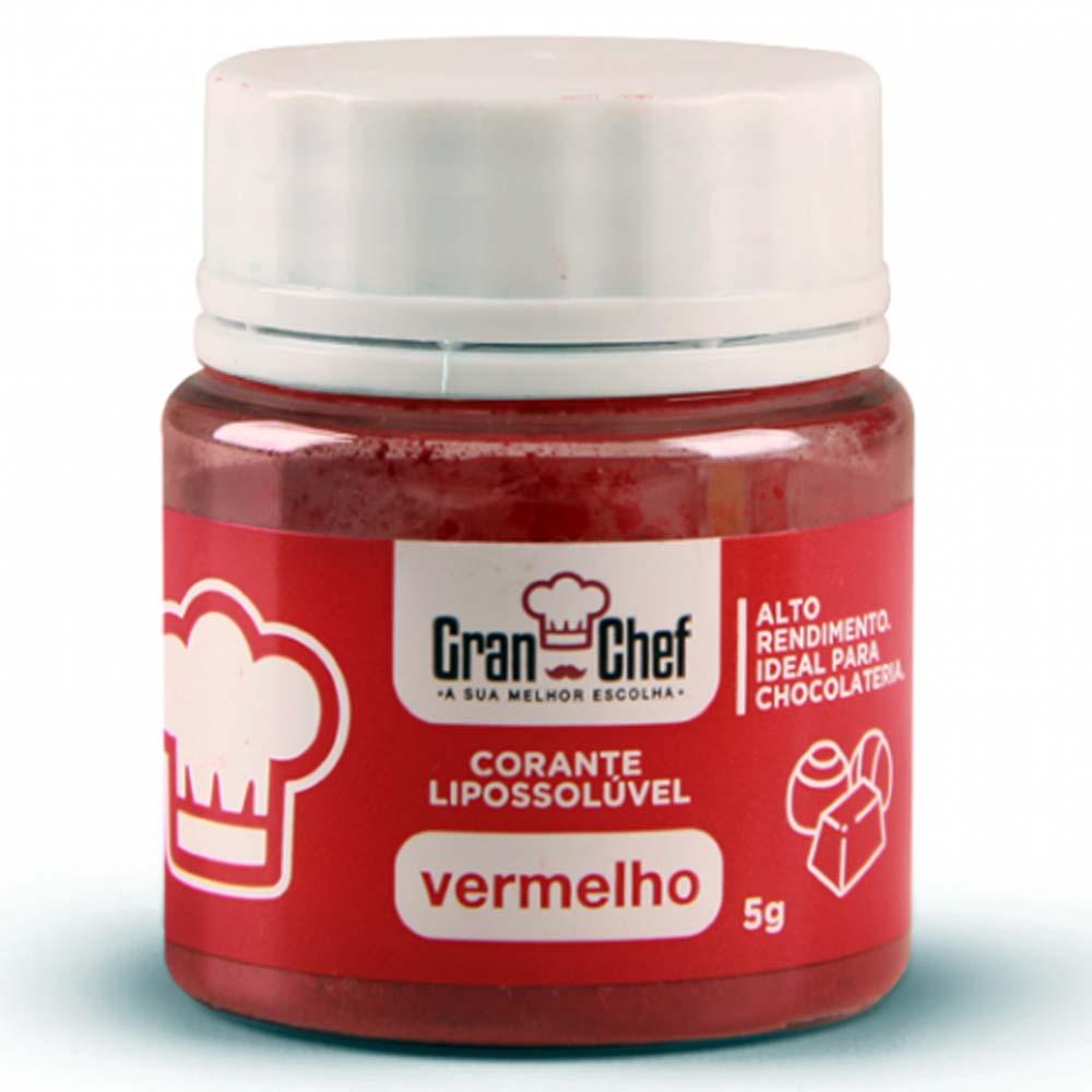 Corante em Pó Lipossolúvel p/ Chocolate Vermelho 5g - Gran Chef