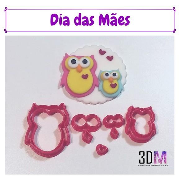 Cortador Dia das Mães Mãe Coruja - 3DM