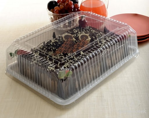 Embalagem Plástica p/ Torta Retangular Grande G70 1un - Galvanotek