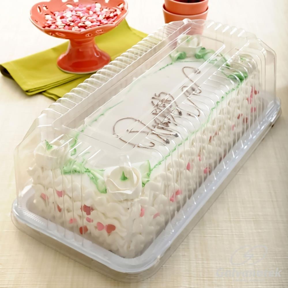 Embalagem Plástica Para Torta Retangular 30,7x13,2x11,5cm G65 - Galvanotek