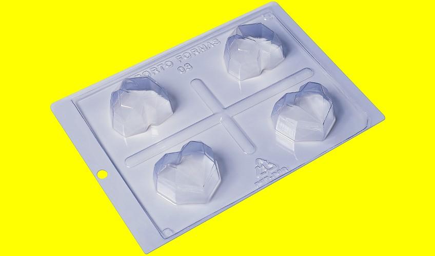 Forma de Acetato c/ Silicone Coração Diamond Especial - Porto Formas