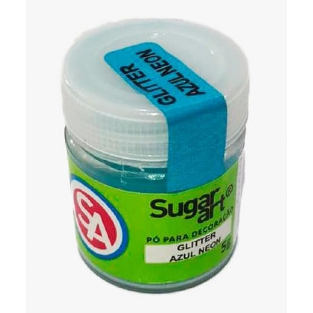 Glitter p/ Decoração Azul Neon 5g - Sugar Art