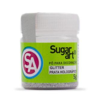 Glitter p/ Decoração Prata Holográfico 5g - Sugar Art