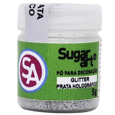 Glitter p Decoração Prata Holográfico 5g - Sugar Art