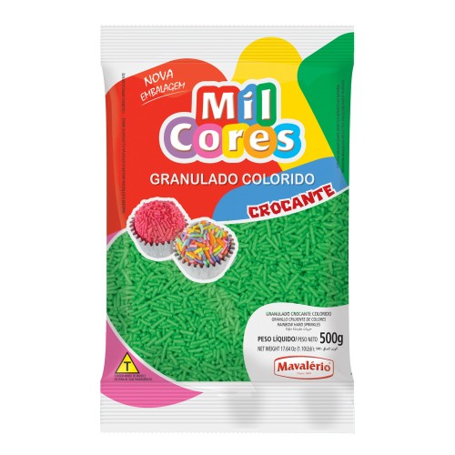 Granulado Crocante Verde Aquarela Mil Cores 500gr - Mavalério