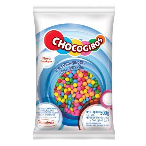Mini Pastilhas Chocogiros Coloridas Chocolate 500gr - Mavalério