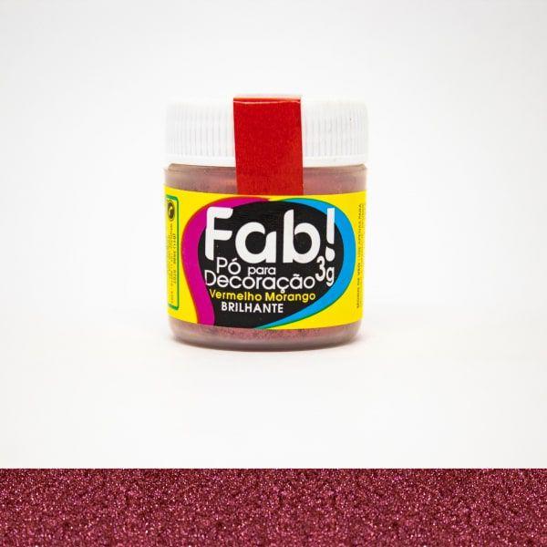 Pó p/ Decoração Vermelho Morango 3g - Fab
