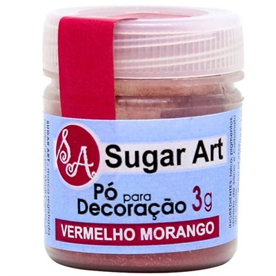 Pó p/ Decoração Vermelho Morango 3g - Sugar Art