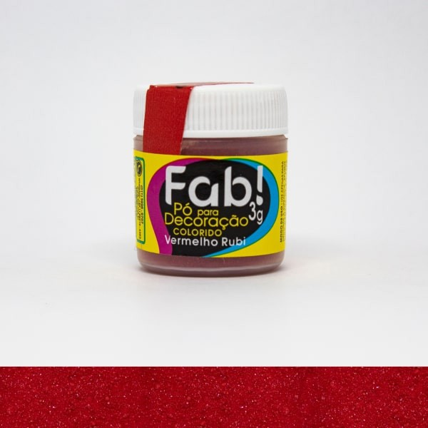Pó p/ Decoração Vermelho Rubi 3g - Fab