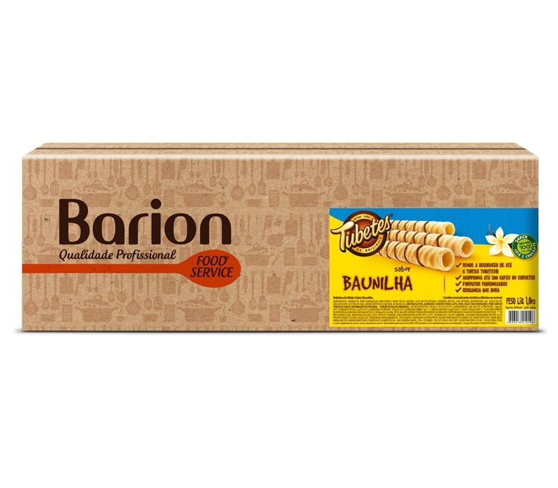 Tubetes Wafer Sabor Baunilha 1Kg - Barion #