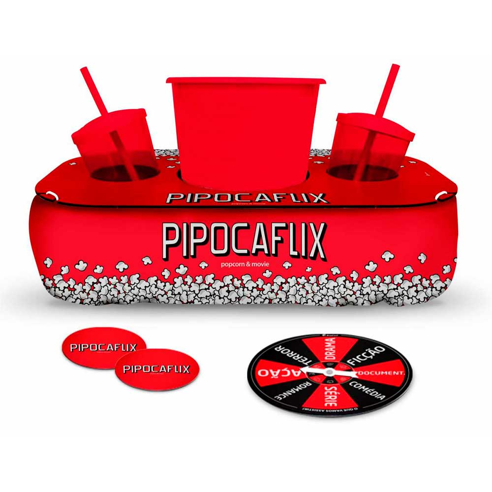 Conjunto Pipocaflix Almofada Para Suporte Copos e Pipoca