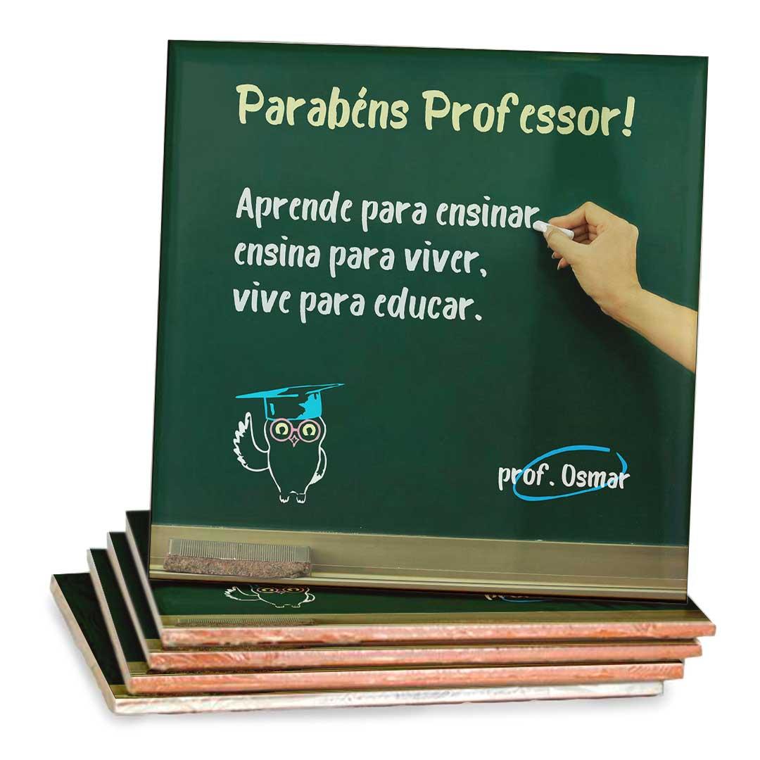 Azulejo Decorativo com Nome - Parabéns, Professor!