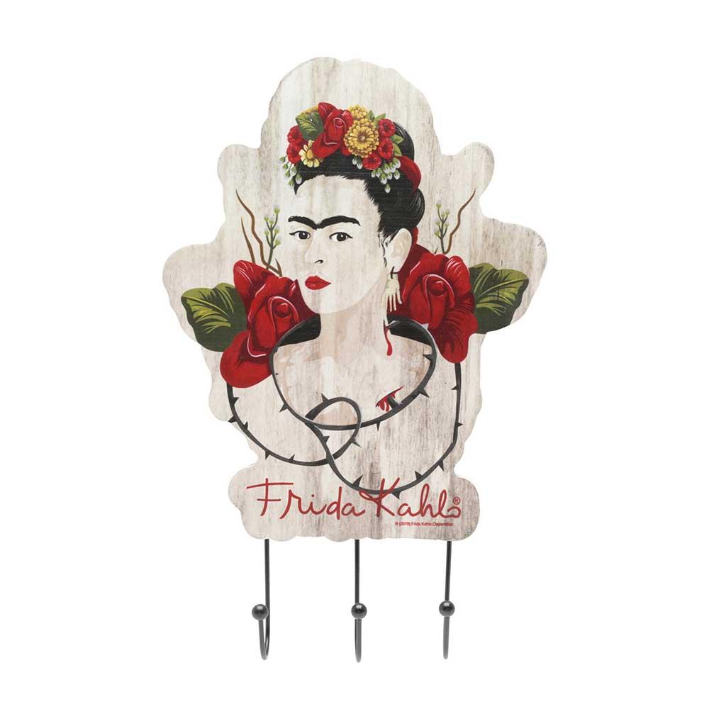Cabideiro de Madeira com 3 Ganchos - Frida Kahlo Colorido Floral