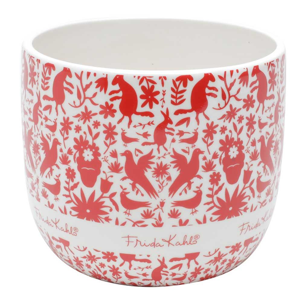 Cachepô Cerâmica - Frida Kahlo | Branco com Passaros