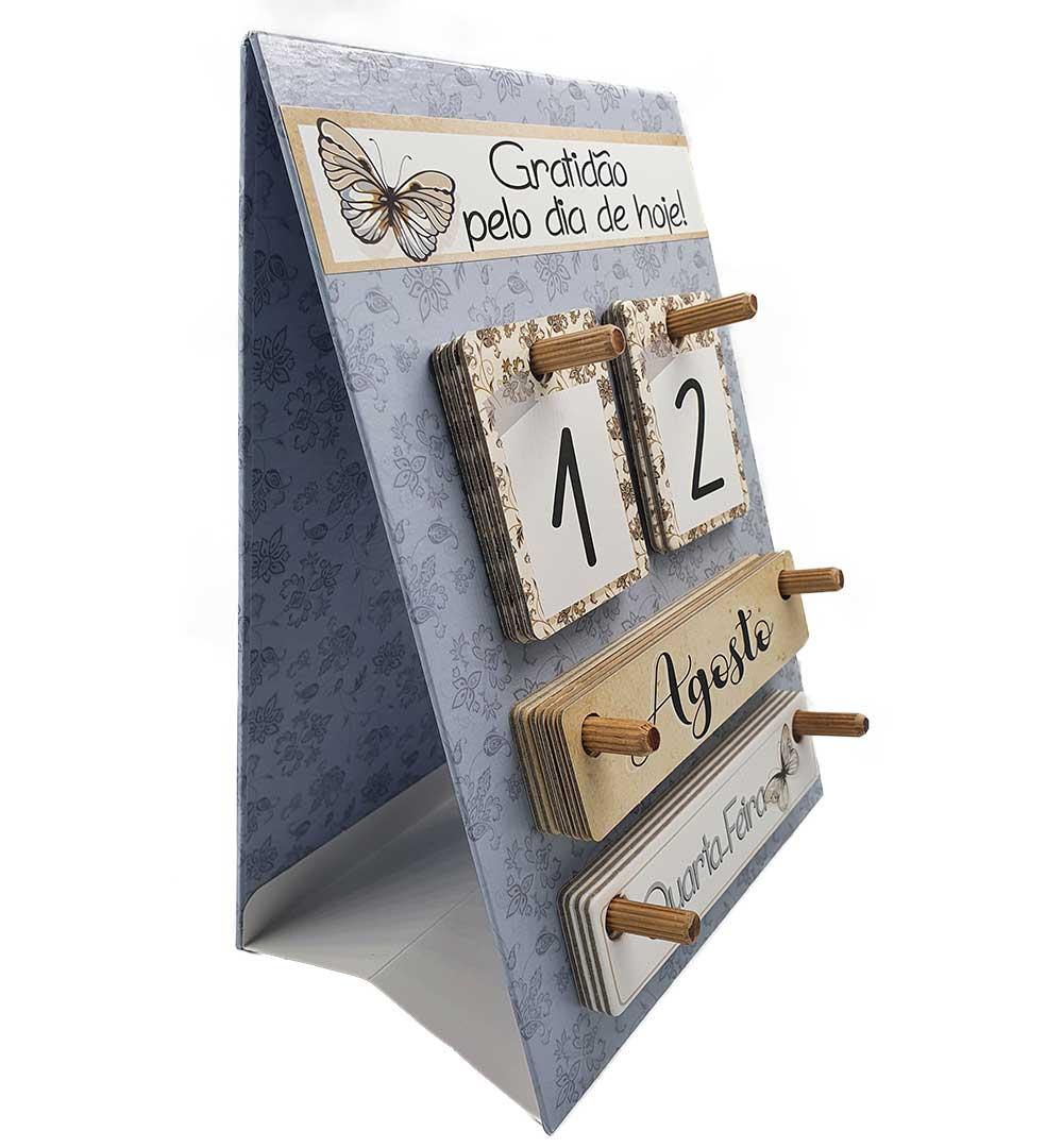 Calendário Permanente de Mesa - Gratidão | Cinza