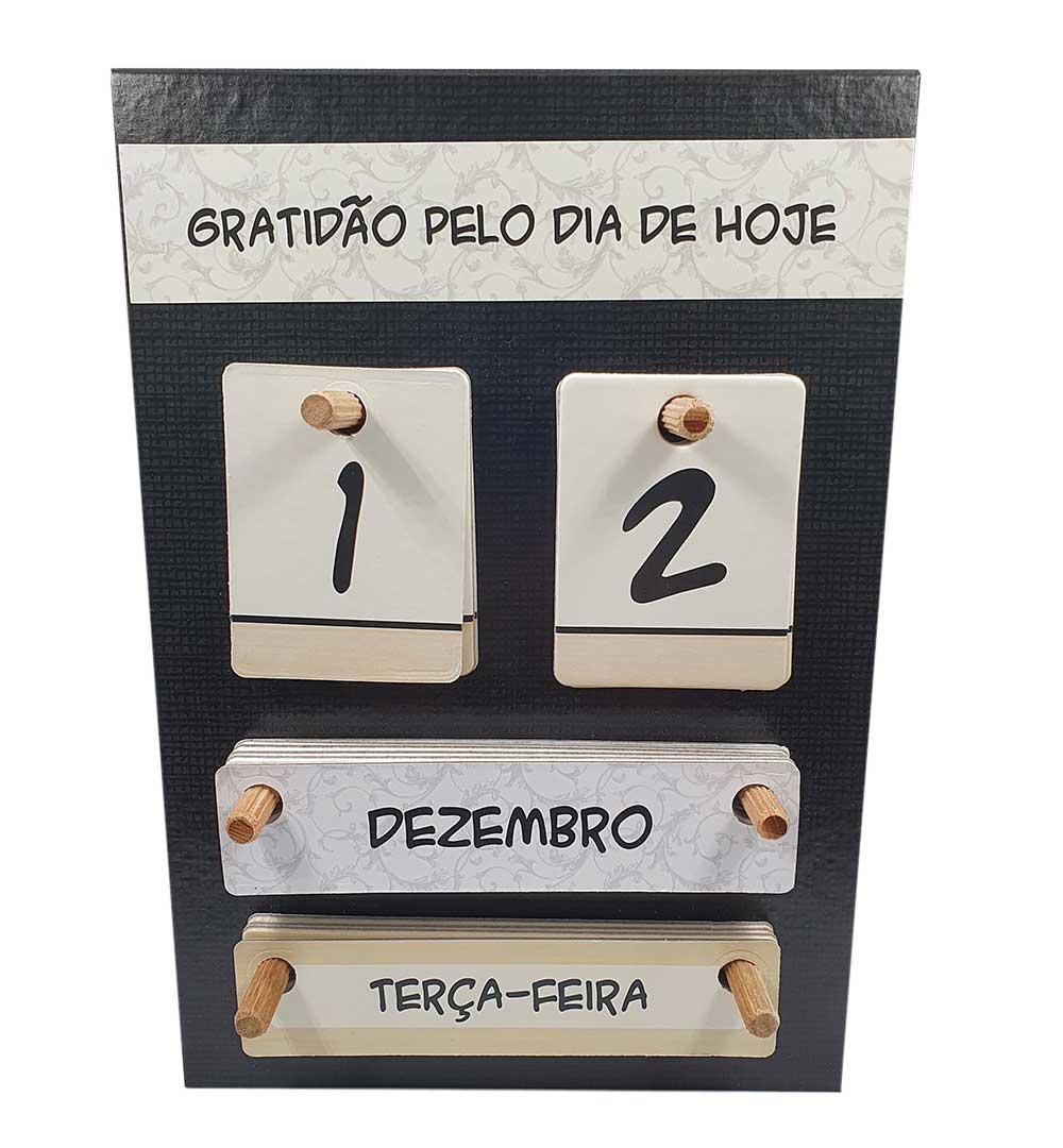 Calendário Permanente de Mesa - Gratidão | Preto