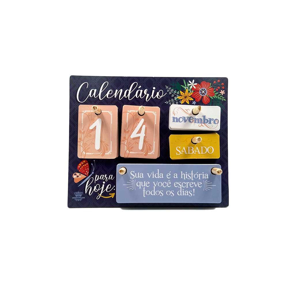 Calendário Permanente de mesa Madeira - Floral