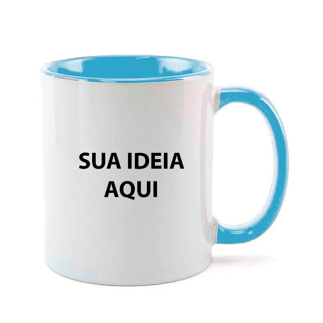 Caneca - Alça e Interior Azul Clara Personalizada