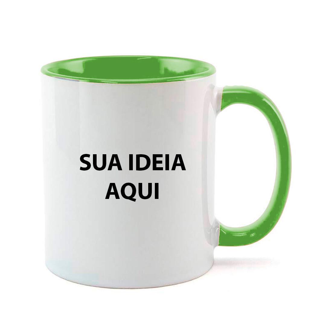 Caneca - Alça e Interior Verde Clara Personalizada