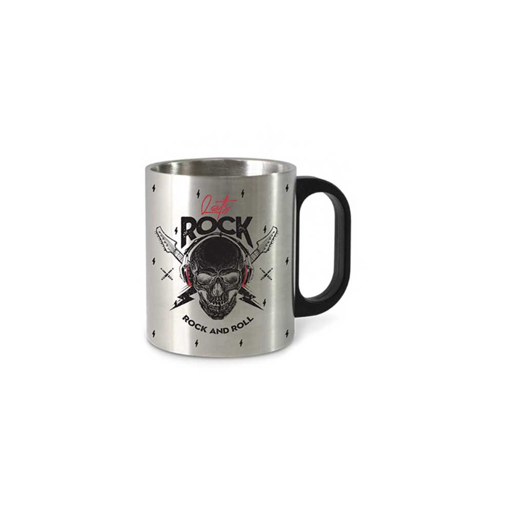 Caneca Metal Inox - Caveira Let s Rock 300ml