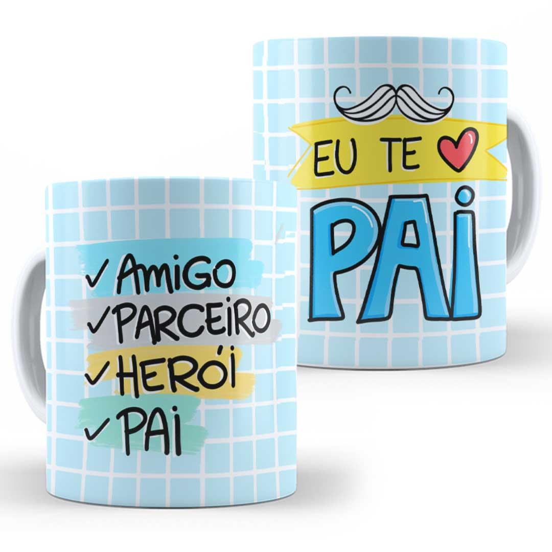 Caneca Porcelana - Amigo, Parceiro, Herói, Pai