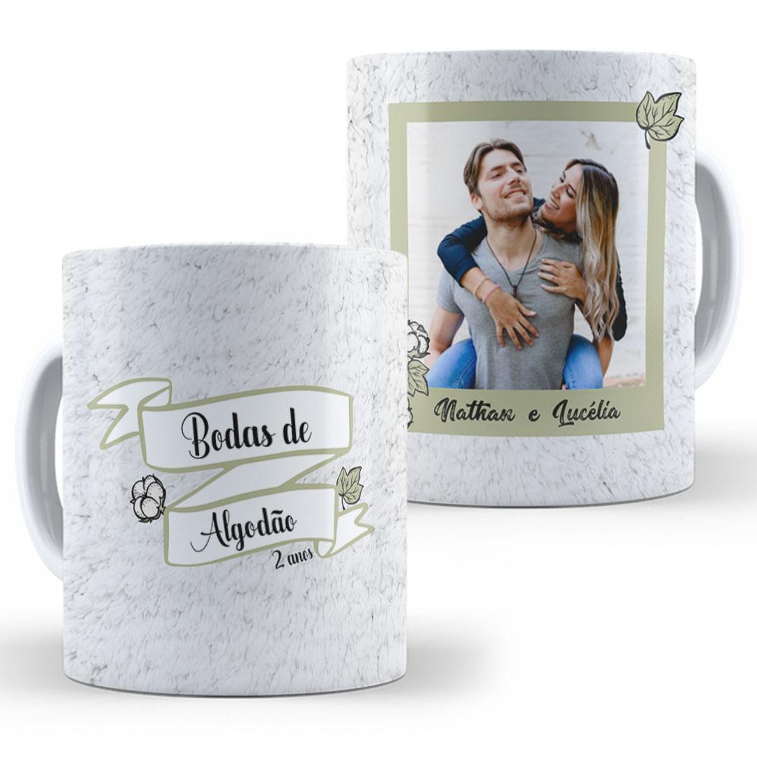 Caneca Porcelana com Foto - Bodas de Algodão II