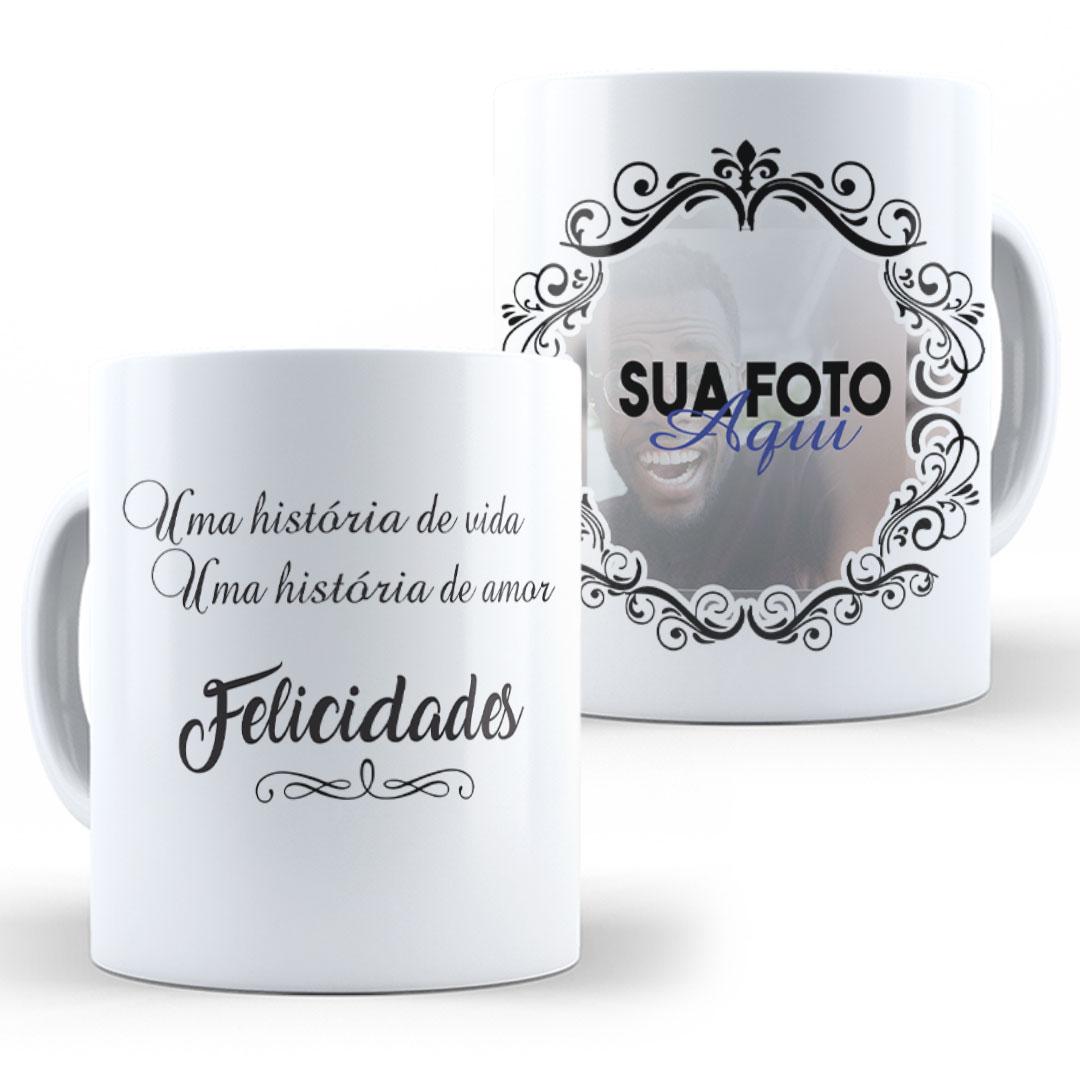 Caneca Porcelana com Foto - Felicidades