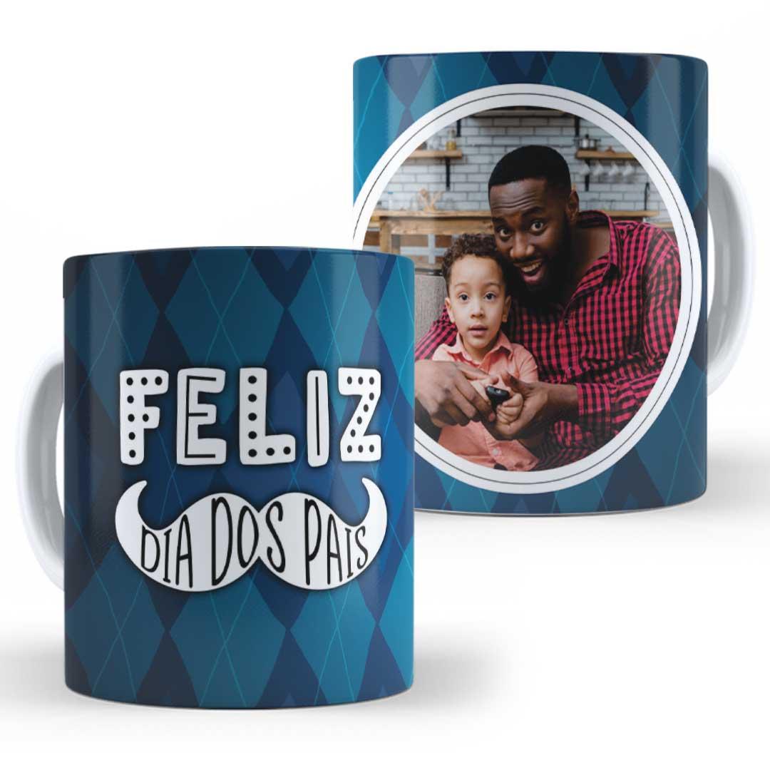 Caneca Porcelana com Foto - Feliz dia dos Pais Azul