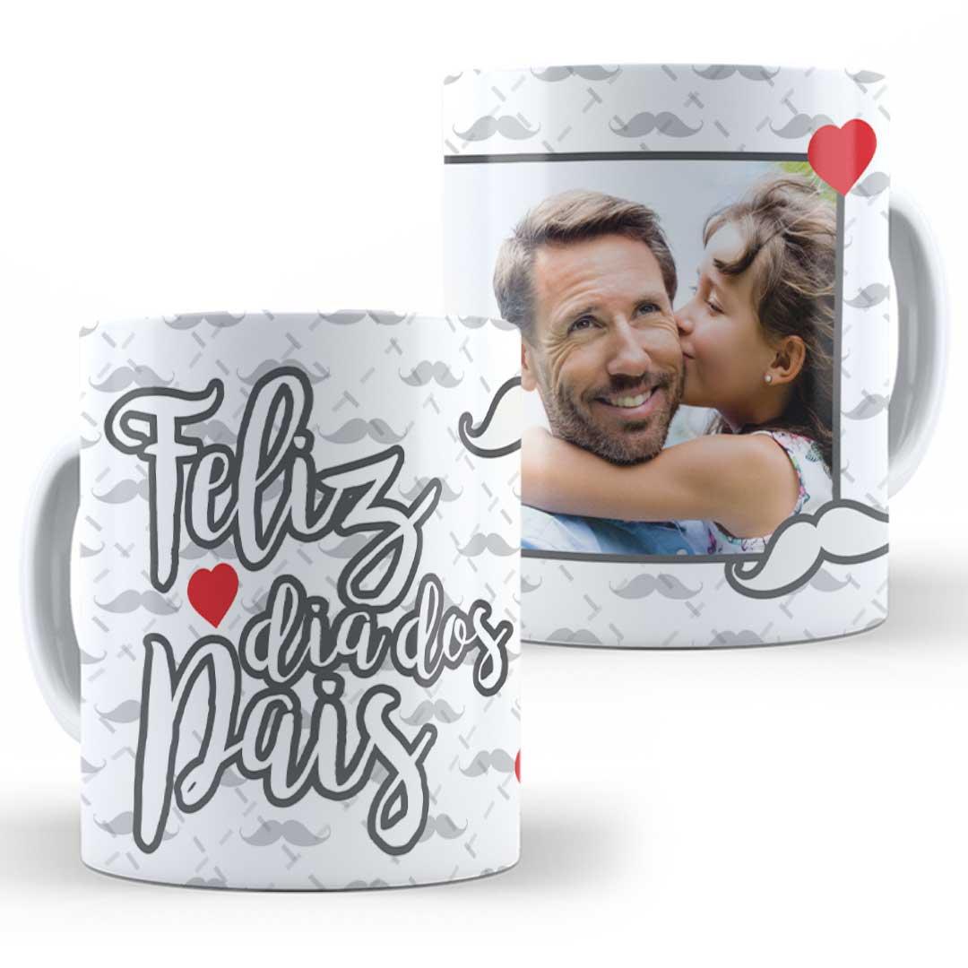 Caneca Porcelana com Foto - Feliz Dia dos Pais Bigode