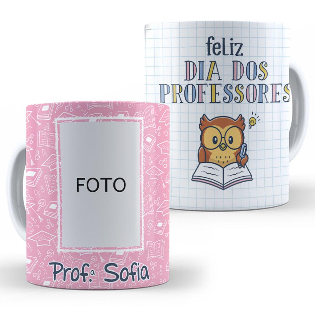Caneca Porcelana com Foto - Feliz Dia dos Professores Rosa
