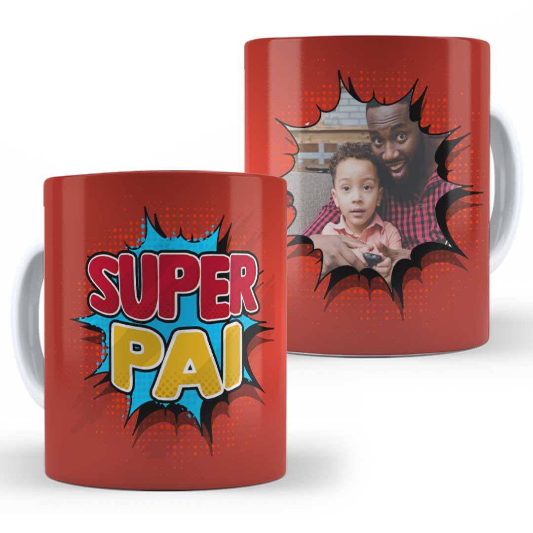 Caneca Porcelana com Foto - Super Pai Vermelha