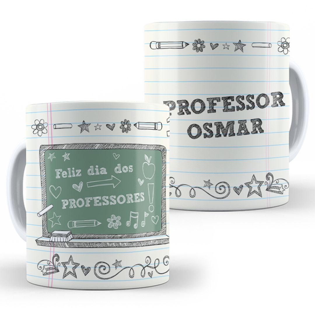 Caneca Porcelana com Nome - Feliz Dia dos Professores Lousa