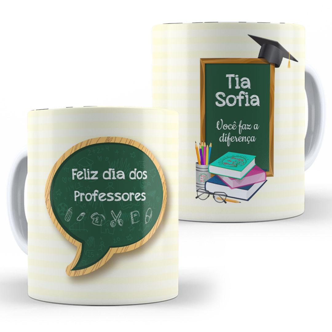 Caneca Porcelana com Nome - Feliz Dia dos Professores VI