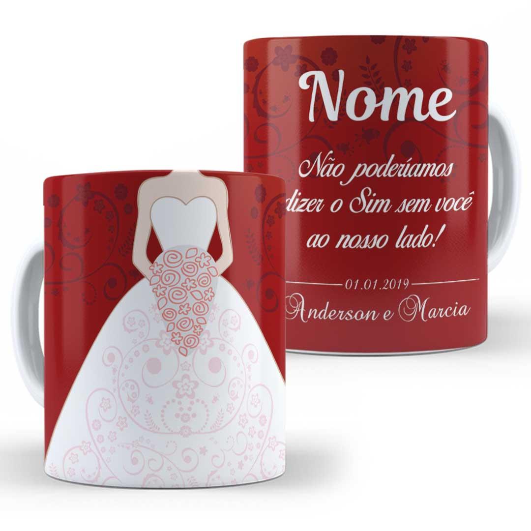 Caneca Porcelana com Nome - Madrinha de Casamento