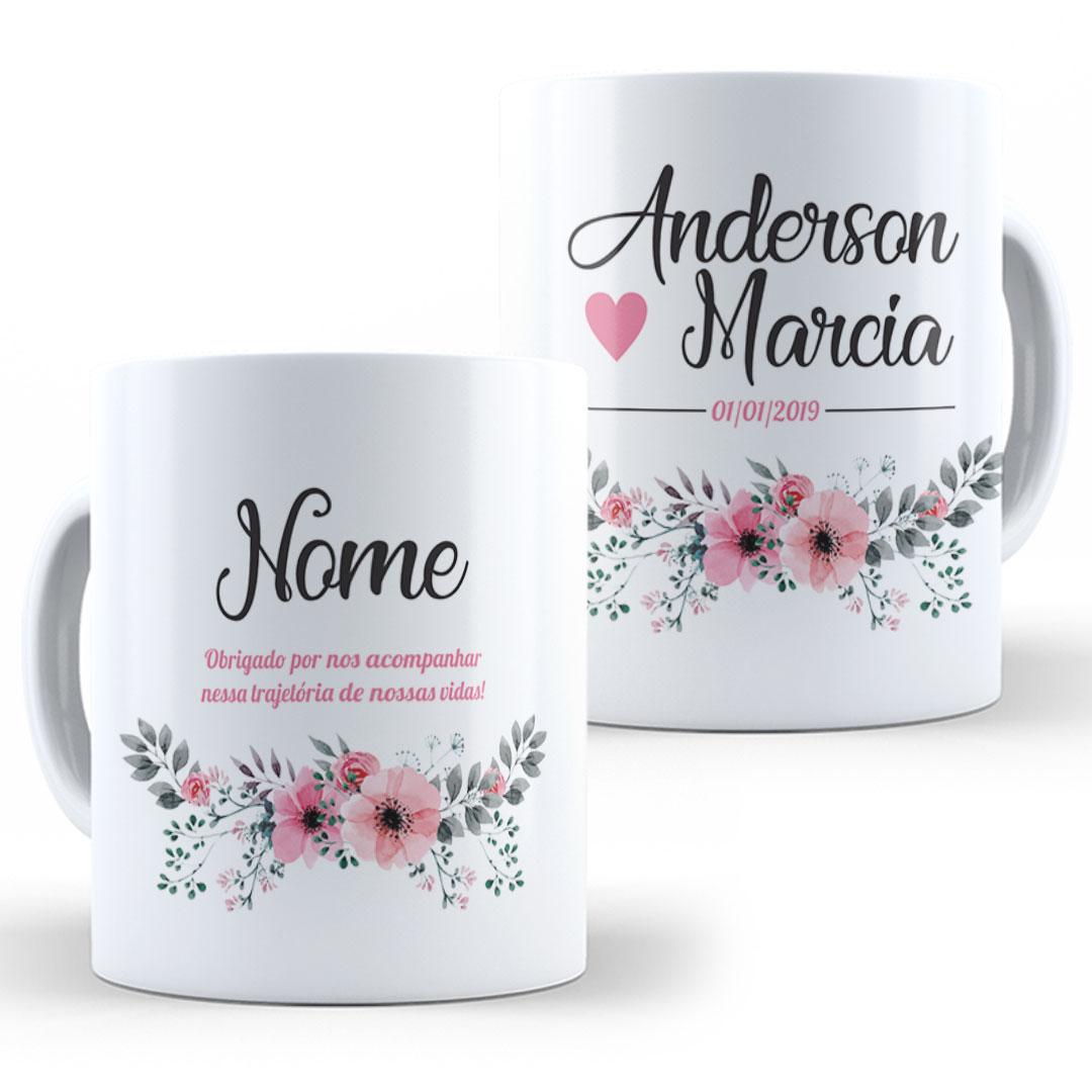 Caneca Porcelana com Nome - Madrinha de Casamento II