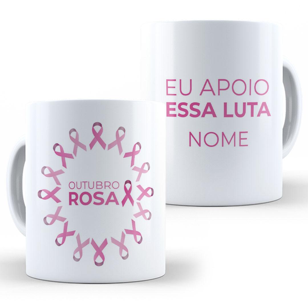 Caneca Porcelana com Nome - Outubro Rosa