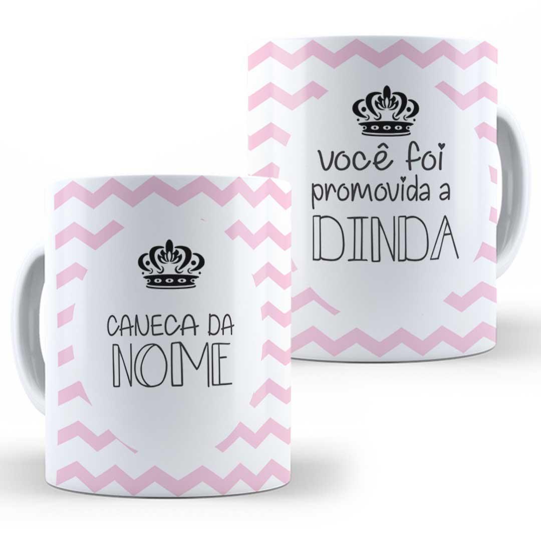 Caneca Porcelana com Nome - Promovido(a) a Dindo(a)