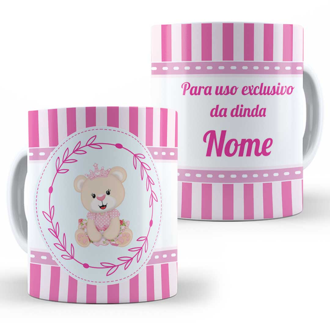Caneca Porcelana com Nome - Uso Exclusivo do Dindo(a)