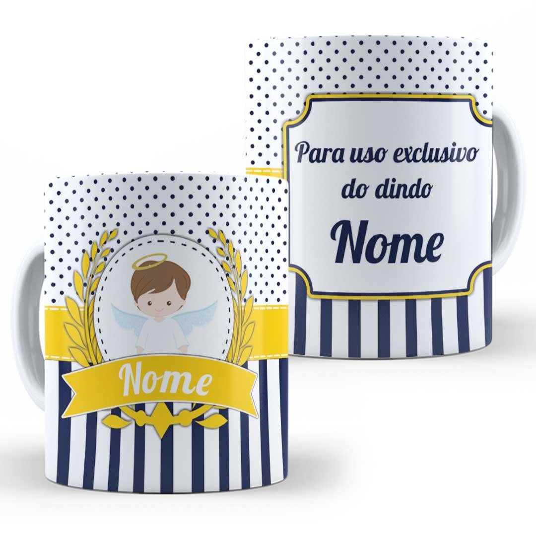Caneca Porcelana com Nome - Uso Exclusivo do Dindo(a) II