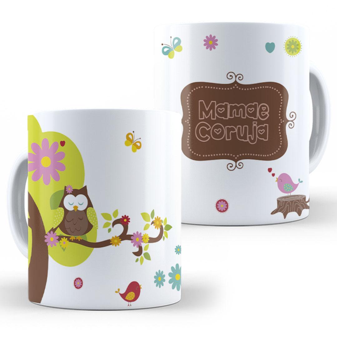 Caneca Porcelana - Mamãe Coruja