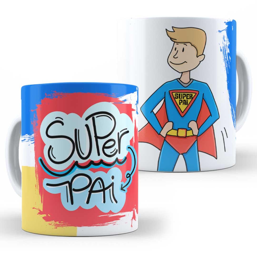Caneca Porcelana - Super Pai desenho