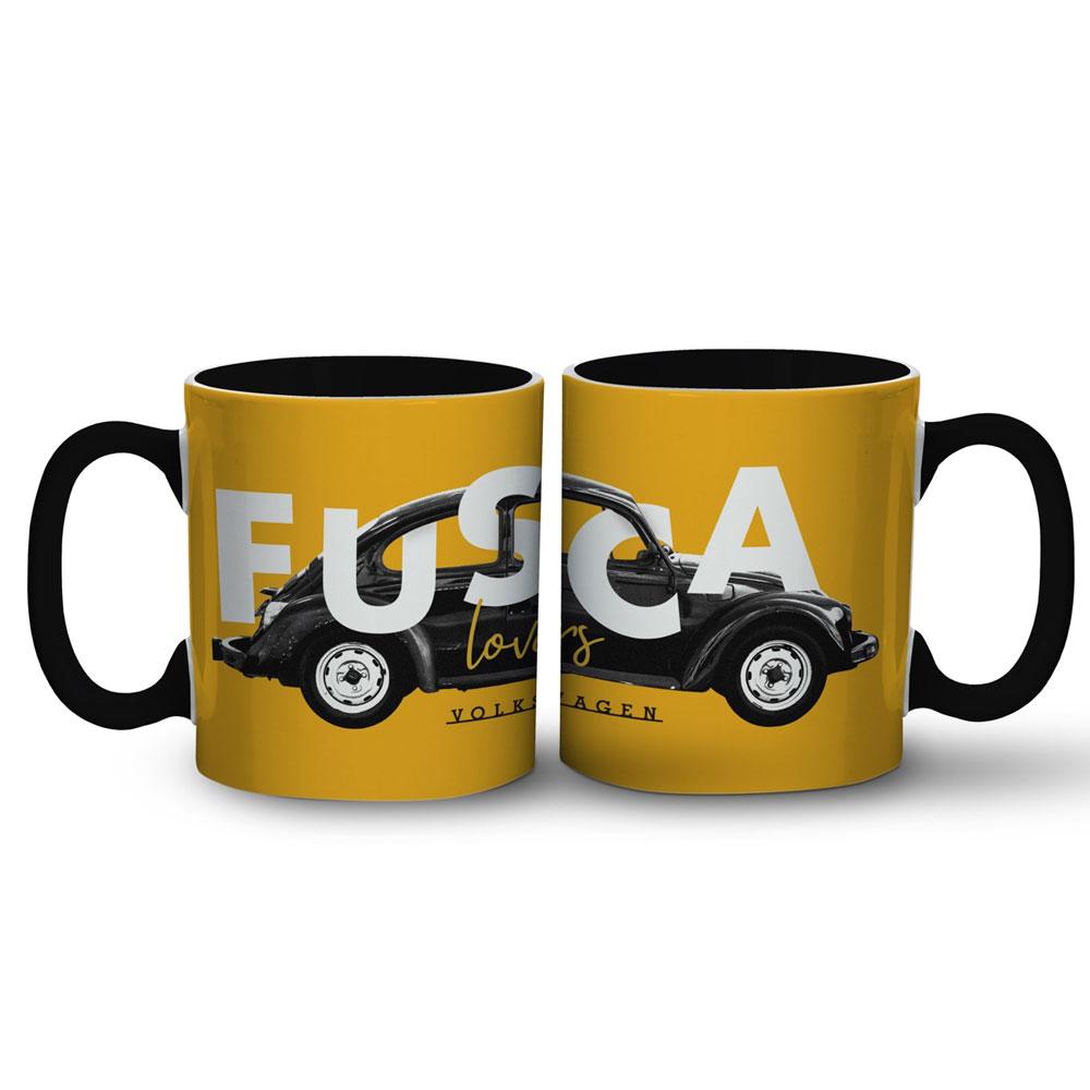 Caneca Porcelana - VW Fusca Lovers Amarelo