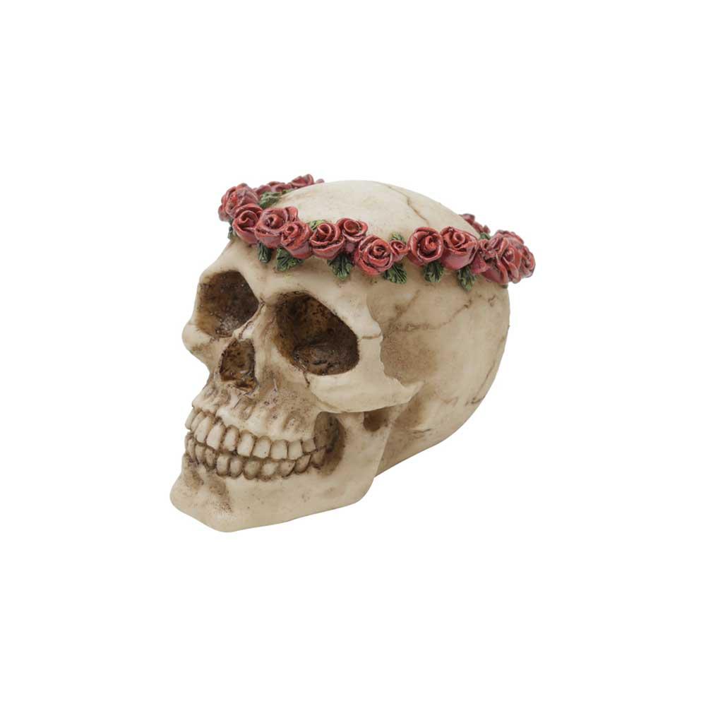 Caveira Resina - Coroa de Rosas | Vermelha