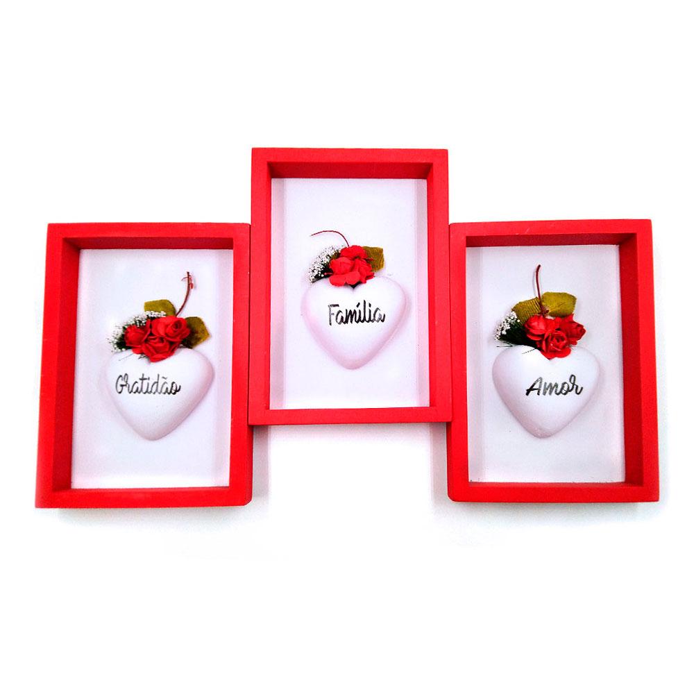 Conjunto de Quadros Coração e Flores - Gratidão, Família e Amor