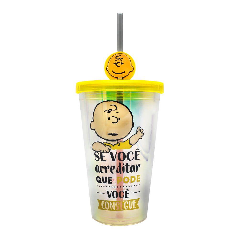 Copo Canudo com Pingente Motivacional Charlie Snoopy