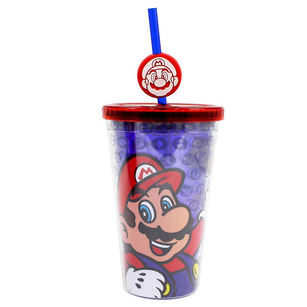 Copo com Canudo e Pingente - Super Mario