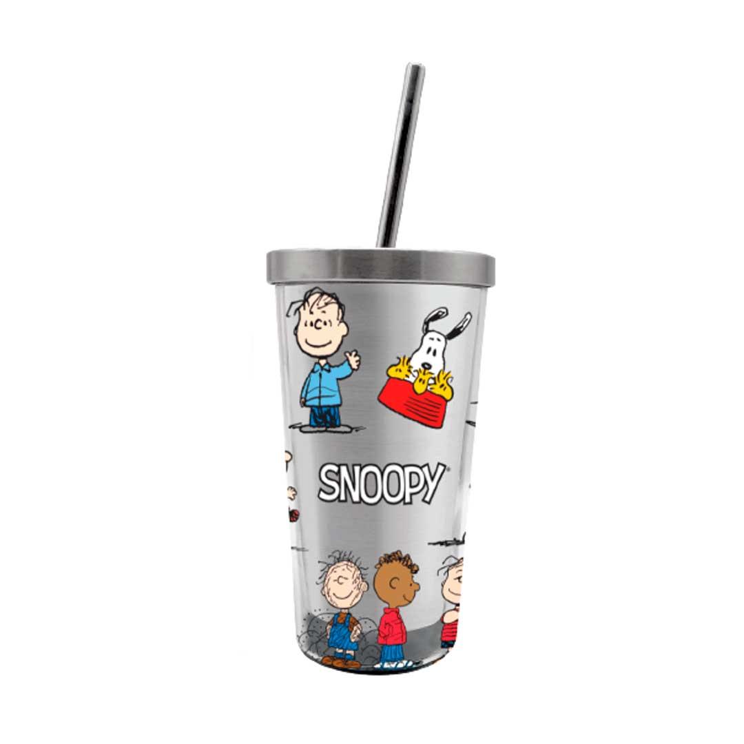 Copo com Canudo Eco - Turma do Snoopy 450ml