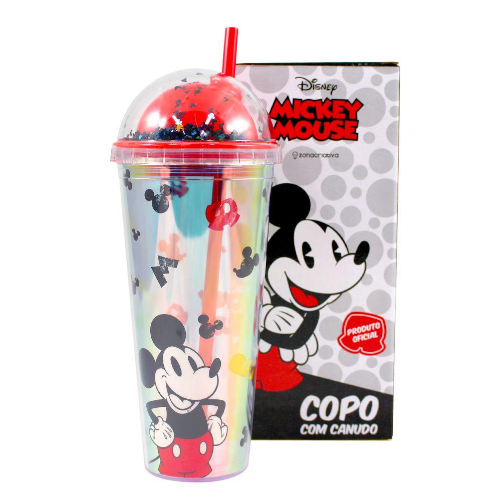 Copo com Canudo Holográfico Mickey