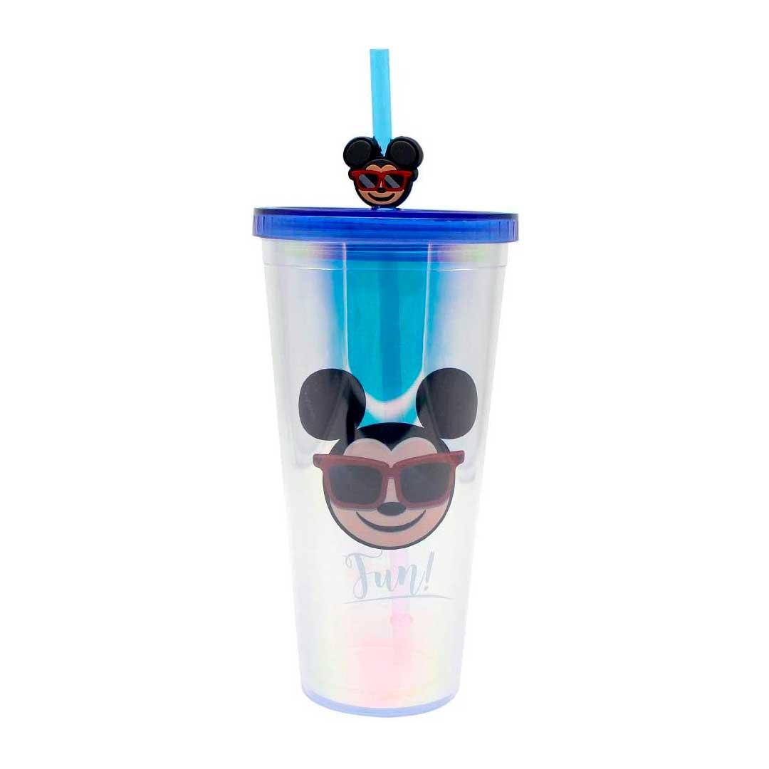 Copo Holográfico com Canudo e Pingente - Cool Emoji | Mickey 650ml --